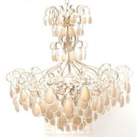 Lámpara de Brazos Tipo Imperio Forja y Cristales Crema 6 Luces