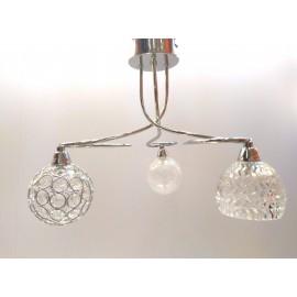 Lámpara Colgante Semiplafón Cromo Tulipas de Cristal 3 Luces