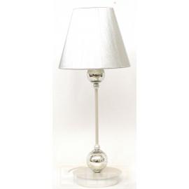 Lámpara de Sobremesa Perla y Cristal Craquelle con Pantalla Hilo Plata