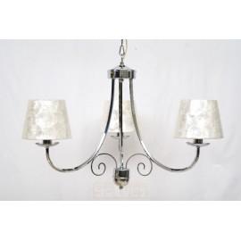 Lámpara de Brazos Cromo con Pantalla de Nácar 3 Luces