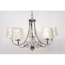 Lámpara de Brazos Cromo con Pantalla de Nácar 5 Luces