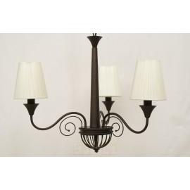 Lámpara de Brazos Marrón con Pantallas Blancas 5 Luces