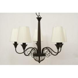 Lámpara de Brazos Marrón con Pantallas Blancas 3 Luces