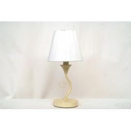 Lámpara de Sobremesa de Forja Espiral Crema con Pantalla