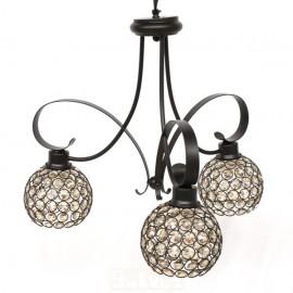 Lámpara de Brazos Marrón con Tulipas de Cristal Roca 3 Luces