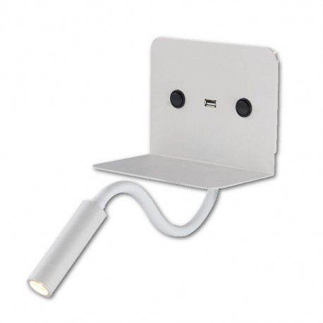 Aplique de Pared para Dormitorio con USB Blanco
