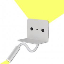 Aplique de Pared para Dormitorio con USB Blanco