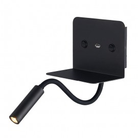 Aplique de Pared para Dormitorio con USB Negro