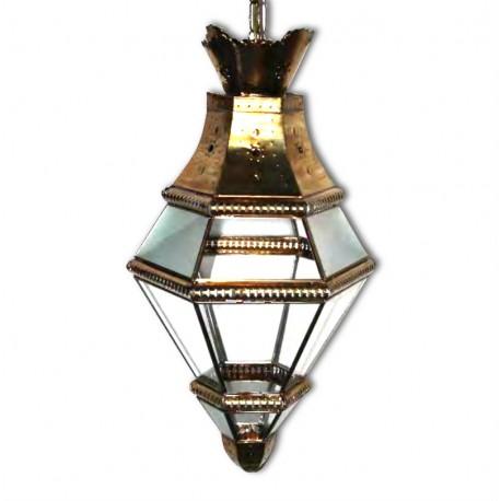 Farol Granadino Cristal Transparente Oro Viejo 72cm