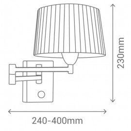 Aplique para Dormitorio Sulion Basic Marrón Articulado con Pantalla