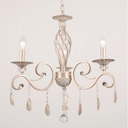 Lámpara de Brazos de Forja Romantic  Color Crema y Cristal Roca 3 Luces