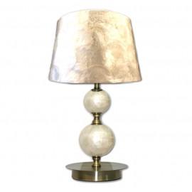 Lámpara de Sobremesa Bronce Viejo con Pantalla Nácar