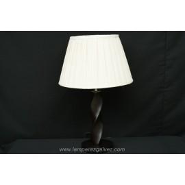 Lámpara de Sobremesa Madera Wengue Espiral con Pantalla