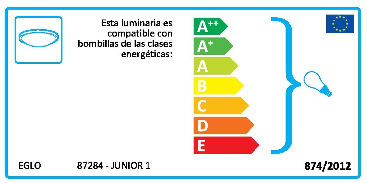 Detalles de Plafón de Techo Infantil Eglo Junior 1 Blanco 1 Bombilla E27